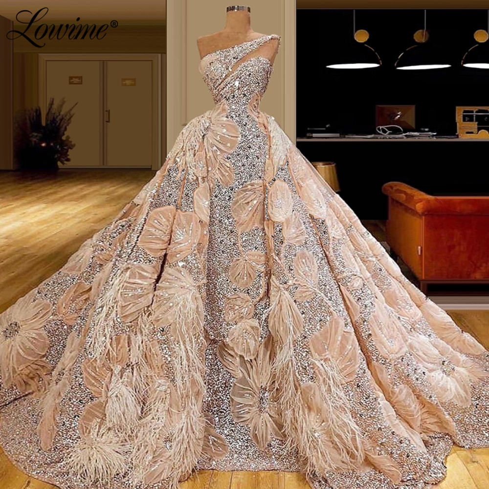 Elegant 2020 Prom Dresses One Shoulder Arabic Dubai Formal Evening Party Gowns Pink Engagement Dress Custom Vestido De Festa