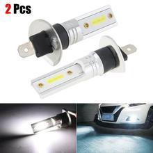 цена на Hot sales 2 pcs Car H1 COB LED Car headlight fog lights Headlight Hi/Lo Beam DRL Driving Light Lamp Bulb White 6500K DropshipCSV