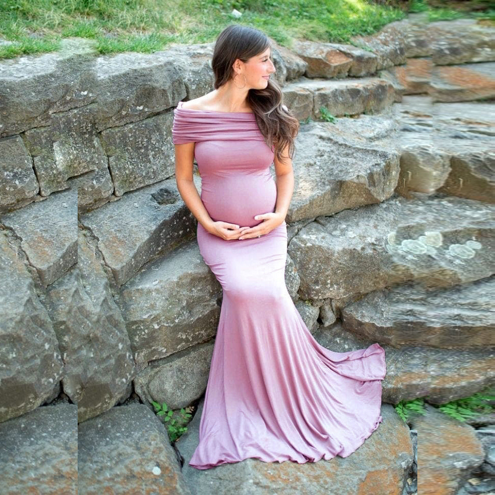 Shoulderless Maternity Dresses Photography Props Long Pregnancy Dress For Baby Shower Photo Shoots Pregnant Women Maxi Gown 2020 (2)