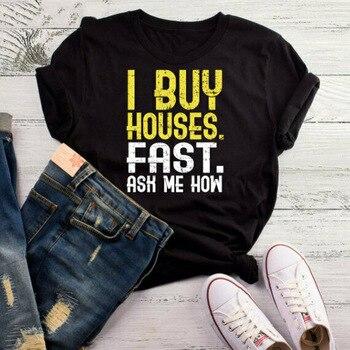 Compre casas rápido pregunte cómo camiseta agente de bienes raíces regalo, regalo de corredor, camiseta Landl impresa personalizada