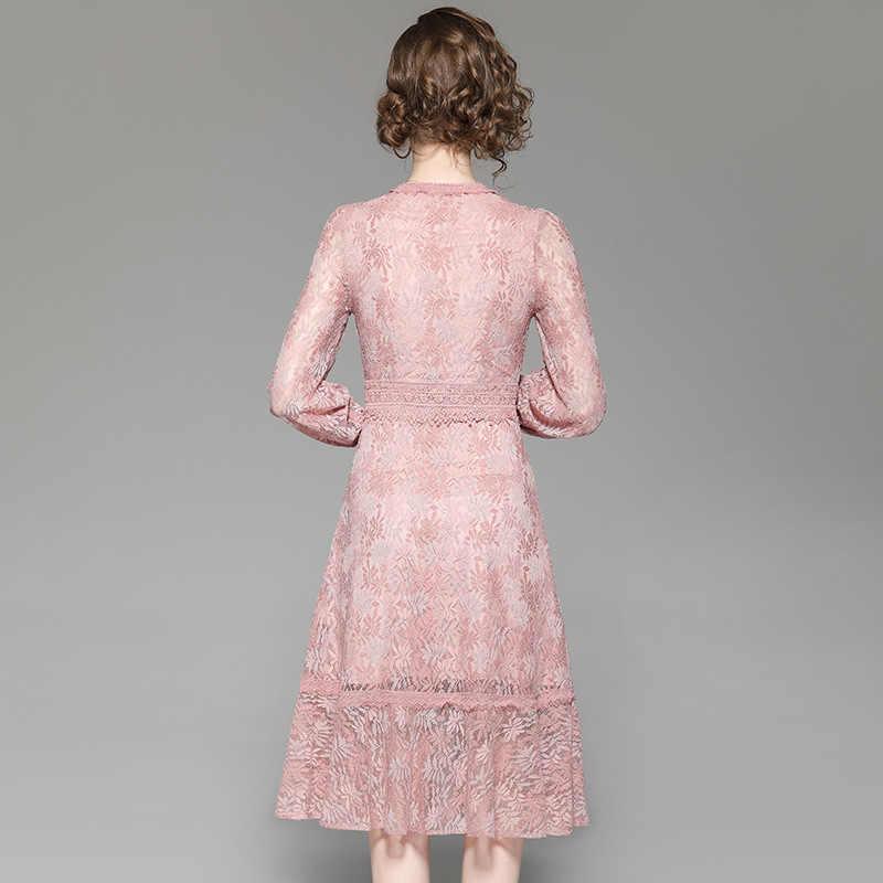 Primavera verão vestido feminino elegante vestido de renda longo preto rosa vestidos europa américa maxi vestidos de fiesta lwl1672