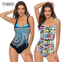 Spinge verso L'alto Le Donne Costumi Da Bagno Più Il Formato di Un Pezzo del Costume Da Bagno Con Scollo A V Spiaggia di Usura 2020 Della Tuta Vestito di Nuoto Sport Vintage Costume Da Bagno vestito 3XL