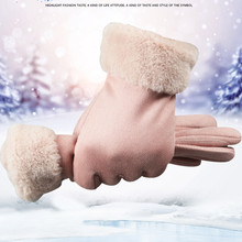 Women Winter Gloves Imitation Soft Thicken  Faux Fur Leather Autumn Ladies Fashion Brand Black Warm guantes luva
