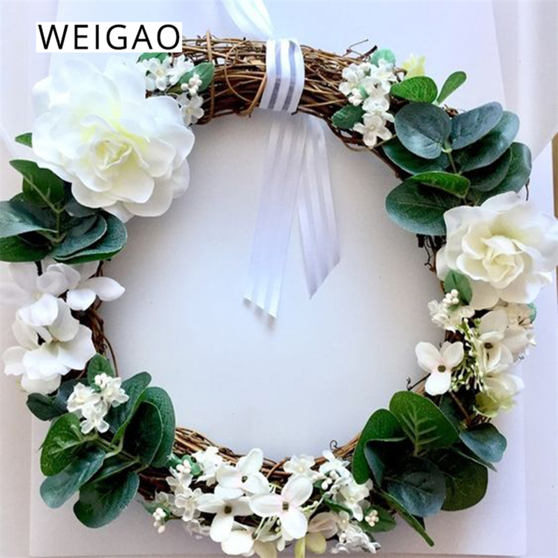 WEIGAO Wedding Decoration For Weddings 10-30cm Rattan Wreath DIY Wedding Wreaths Christmas Home Decor Ornaments Garland Easter
