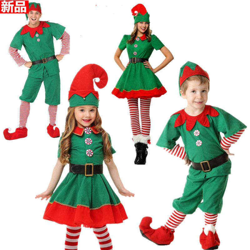 Children Men And Women Christmas Costume Halloween Clothing Adult Christmas Elf Green Clothing Cosplay Parent-child Matching Out
