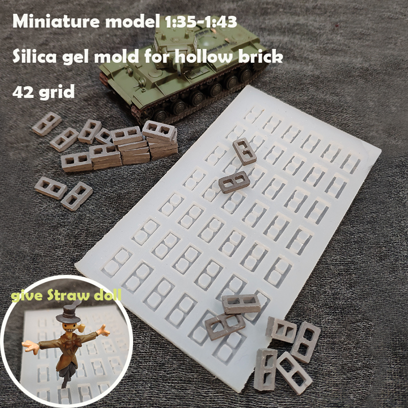 Miniature Model  1:35-1:43  Silica Gel Mold For Hollow Brick  42 Grid  Sand Table Building Model Materials
