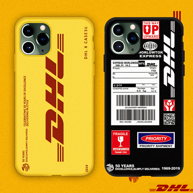 Hot DHL Express 50th Anniversary Edition Label case for iPhone 12 11 Pro X XS MAX 7 8 plus luxury 3D Scrub soft silicon cover 1