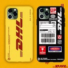 Quente dhl express 50th aniversário edição etiqueta caso para o iphone 12 11 pro x xs max 7 8 plus luxo 3d esfregar capa de silicone macio