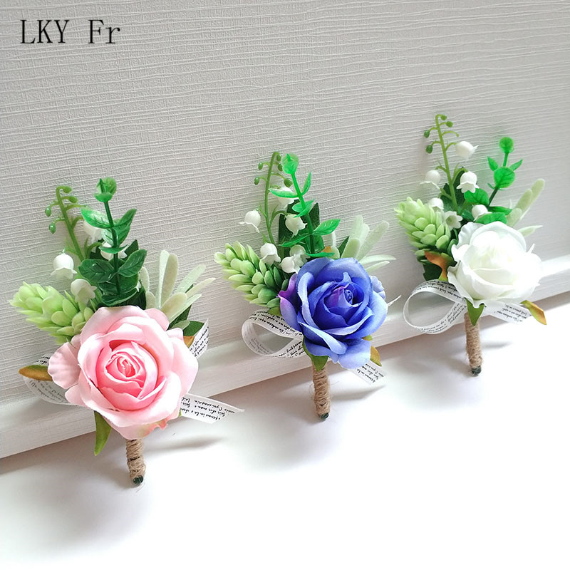 LKY Fr Boutonniere Corsages Wedding Silk Pink Groom Boutonniere Buttonhole Flowers Marriage Accessories Corsage Planner Supplies