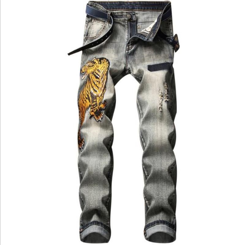 QIBA Brand New Jeans Men 100% Cotton Locomotive Embroidery Jeans Ripped Jeans Fashion Classic  #902