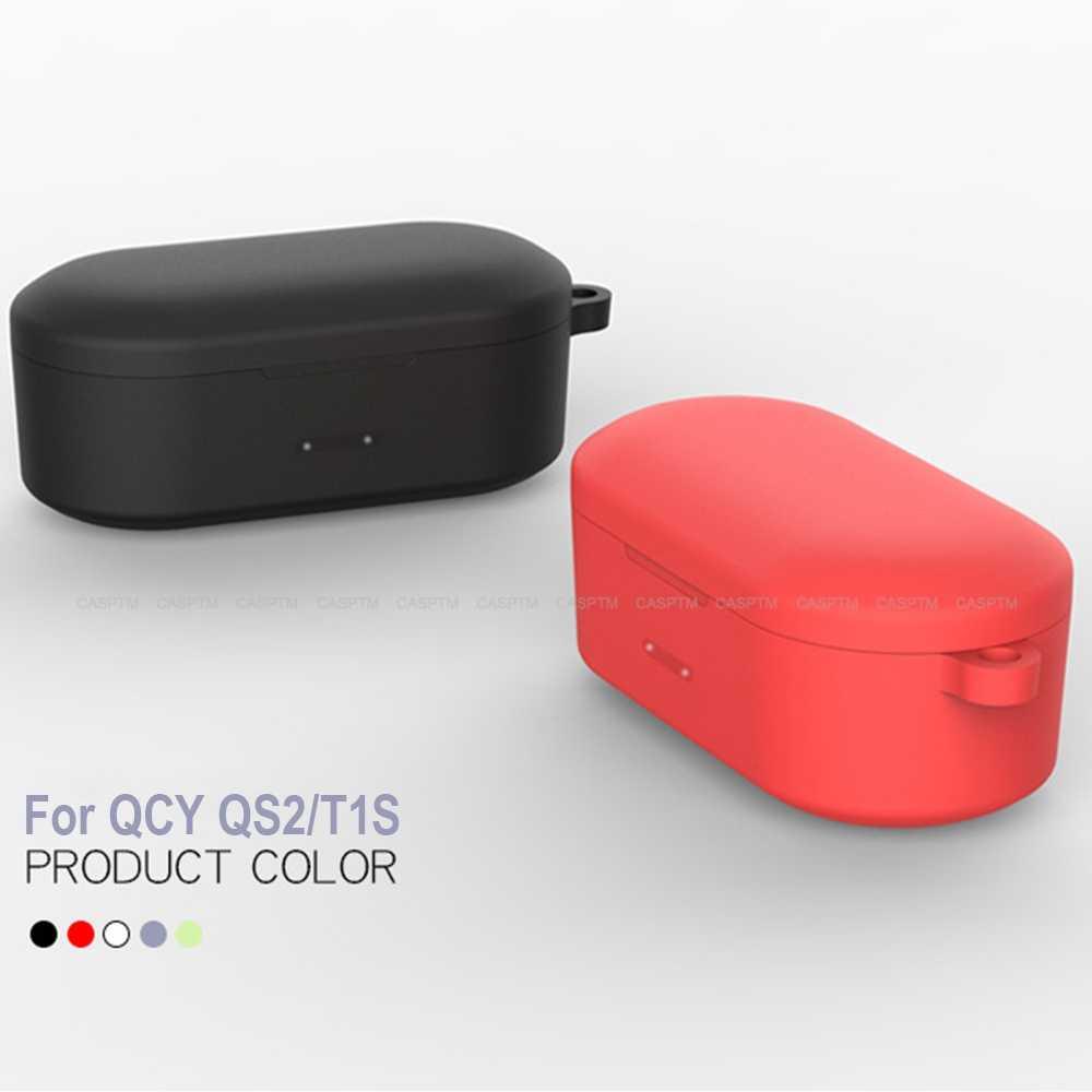 ワイヤレス bluetooth イヤホン保護ケース qcy QS2 充電ケースのための QS2 T1S ヘッドセットシリコーンフルカバー coque