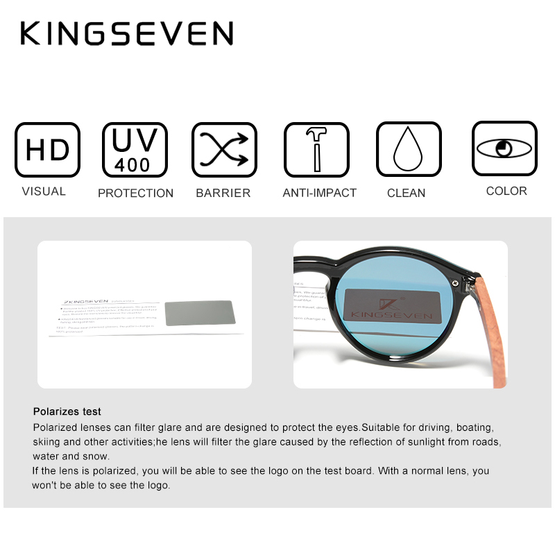 Custom LOGO Natural Wooden Sunglasses KINGSEVEN Bubinga Men's Polarized Glasses Wooden Fashion Sun Glasses Original Accessories 4