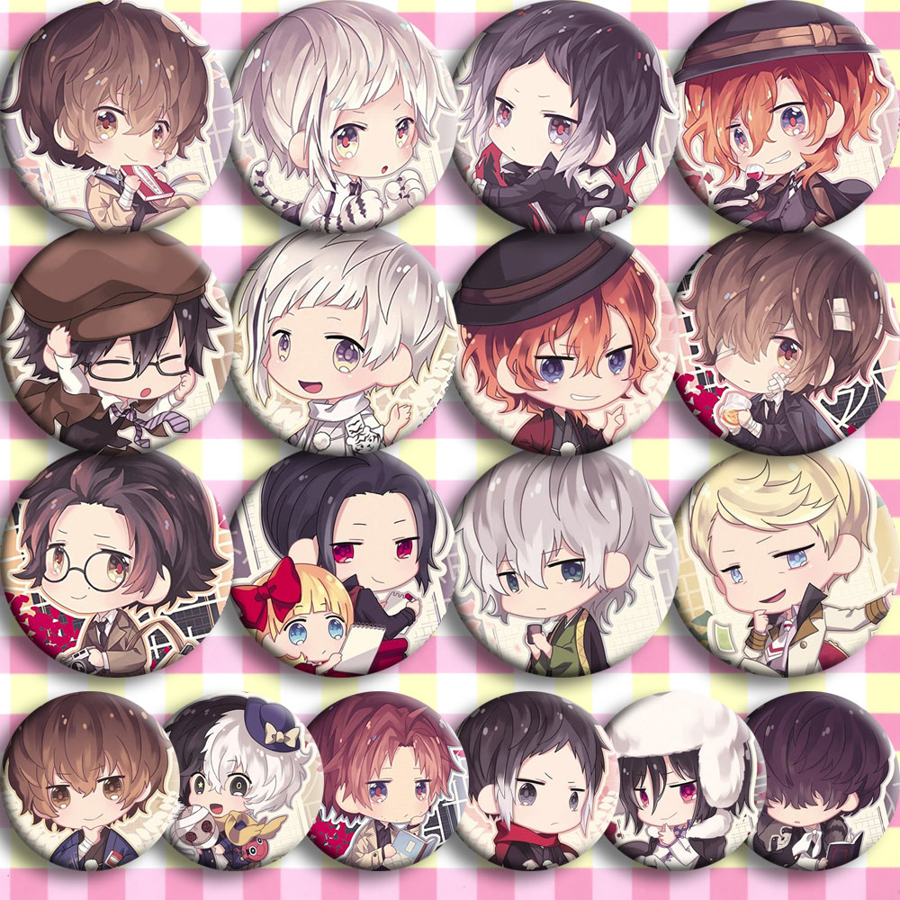 Japan Anime Bungou Stray Dogs Cosplay Badge Cartoon Collection Bags Badges For Backpacks Button Clothes Brooch Pins Gifts