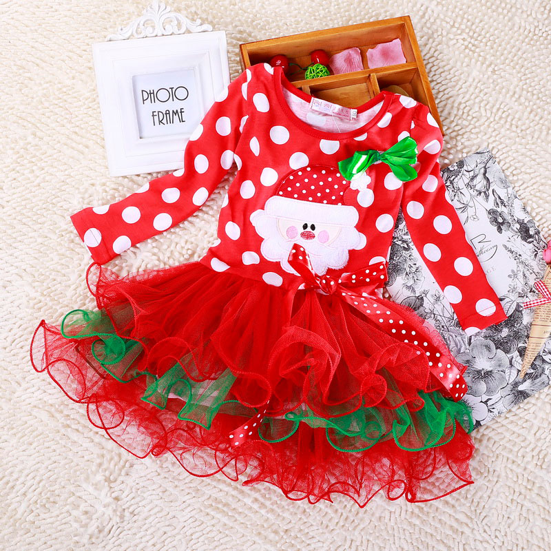 H12e27dfcf372410abbc16c248a3fdd44v 2-6T Santa Claus Christmas Dress Kids Party New Year Costume Winter Snowman Baby Girl Clothes Christmas Tree Children Clothing