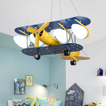 Modern Nordic Creativity Remote control  Led Airplane Chandelier Cartoon Boys Hanging Lamp with Bulb for children's room Bedroom