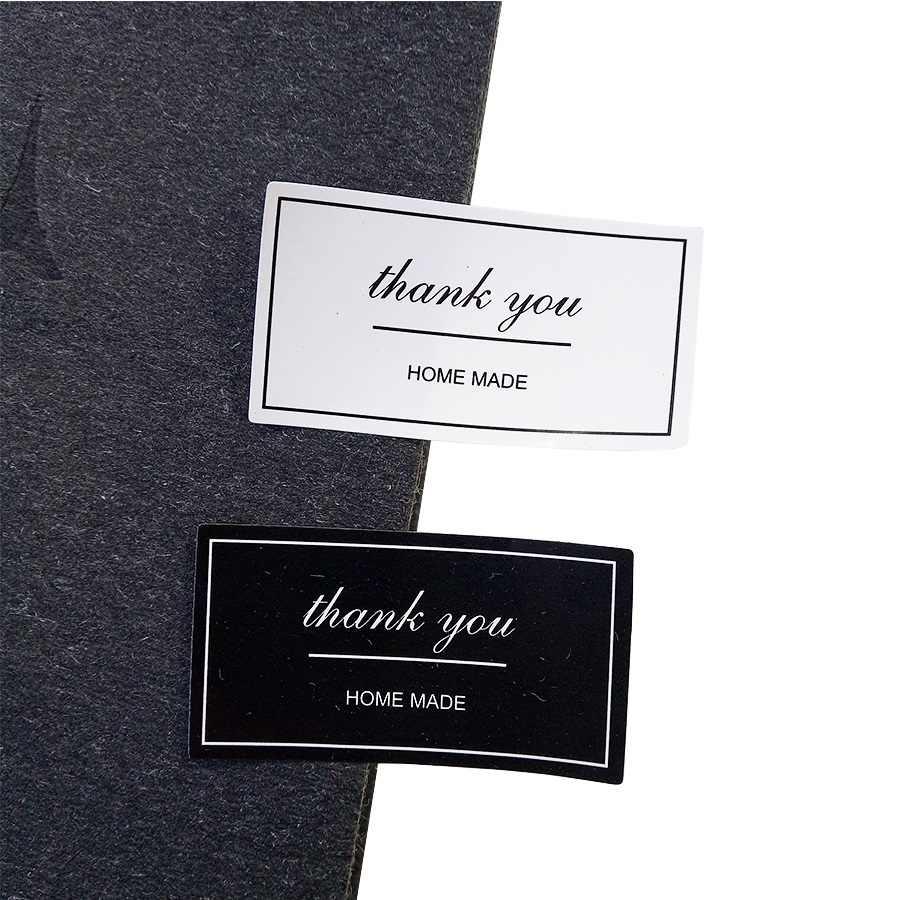 120 Cái/lốc Đen Trắng 'Thank You' Chữ Nhật Ấn Miếng Dán Tặng Miếng Dán Kính Cường Lực Cho Tự Chế Làm Bánh Bao Bì Trang Trí Nhãn