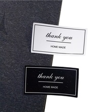 120pcs/lot Black And White Thank You Rectangular Seal Sticker Gift For  Homemade Bakery Packaging Decoration Label