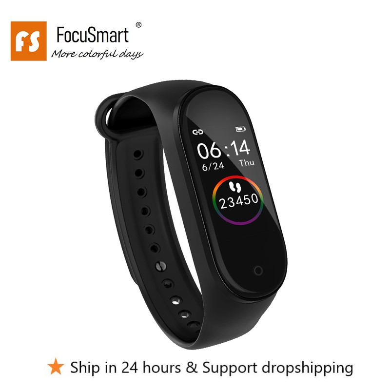 FocuSmart Smart Wristbands M4s TPU Fitness Tracker ECG HRV Heart Rate Monitor Blood Pressure Smart Bracelet For IOS/Android