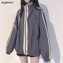 Ulzzang – veste de printemps à fermeture éclair pour femme, vêtement d'extérieur, ample, facile à assortir, Harajuku, tendance, Simple, rayé