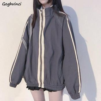 Basic Jackets Women Spring Zipper Stand Collar Students Loose BF All-match Harajuku Womens Outwear Trendy Simple Striped Ulzzang