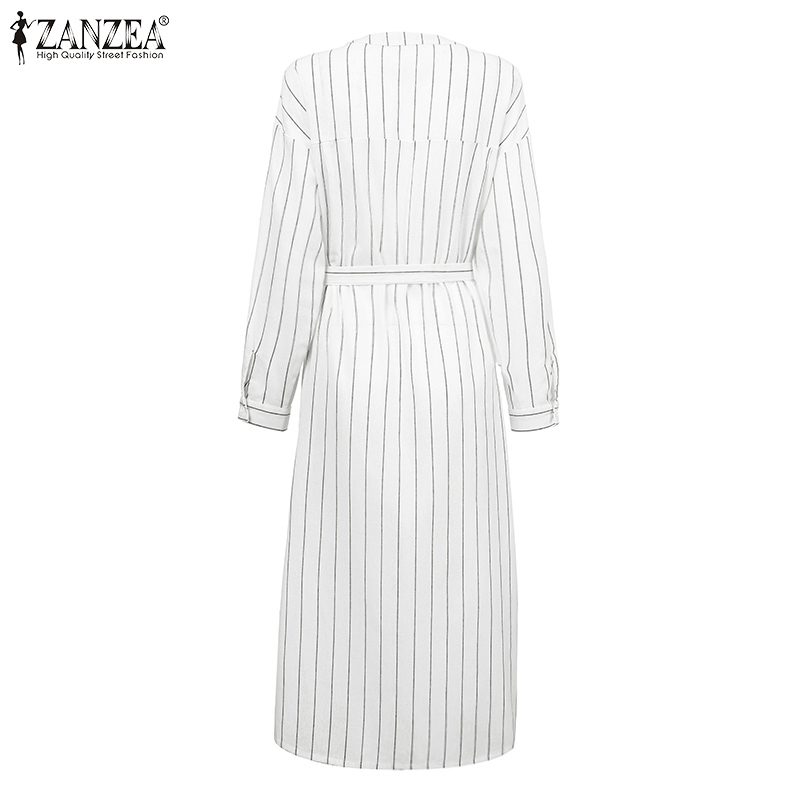 Zanzea Women S Mid Calf Dress Vestidos 2020 Fashion Ladies Long Shirts Casual Pockets Sundress With Belt Beach Party Midi Dress Dresses Aliexpress