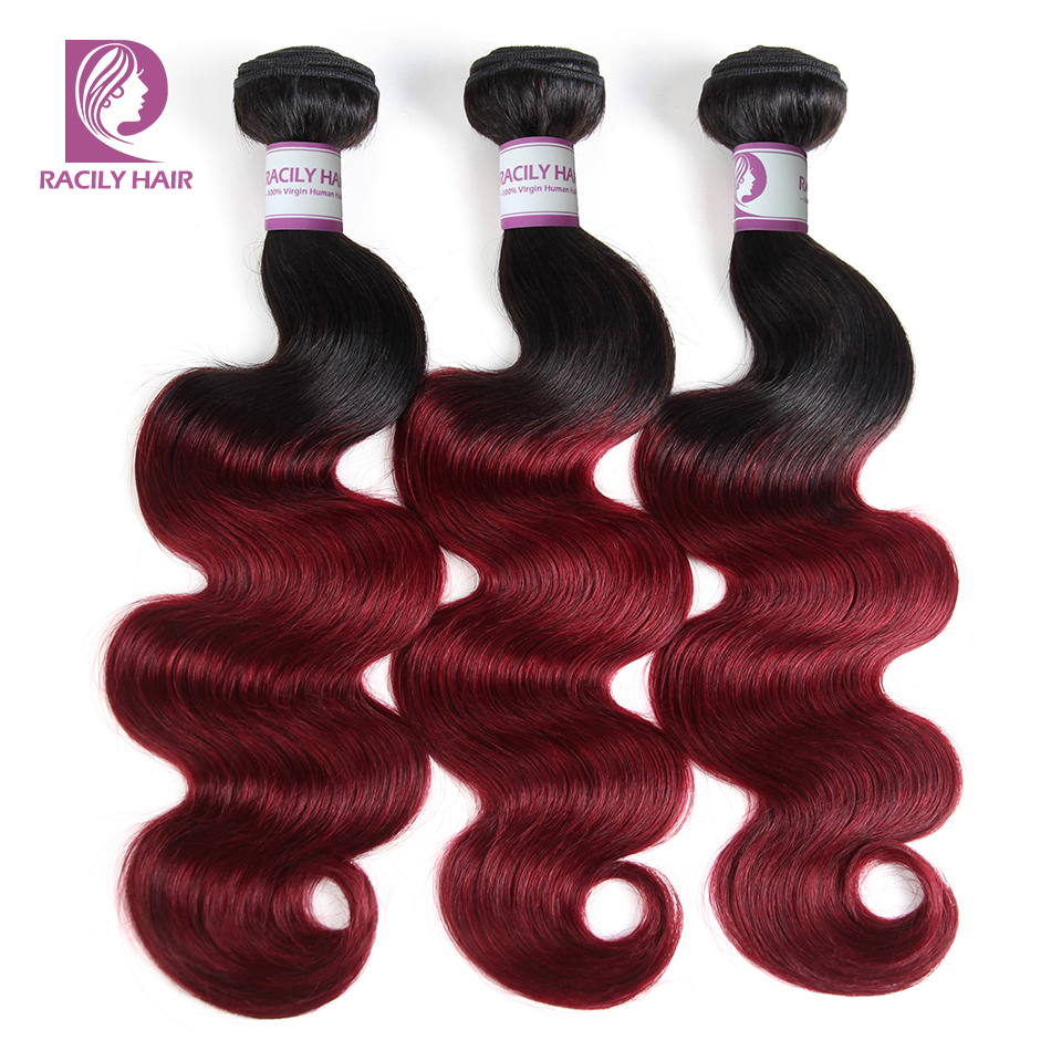 Racily Hair Ombre Brazilian Body Wave Bundles 99J Human Hair Weave Bundles T1B/Burgundy Weave Red Remy Extensions 1/3/4 Bundles