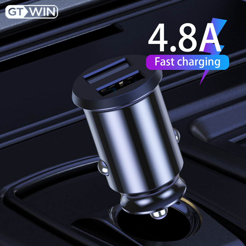 GTWIN <font><b>USB</b></font> Car <font><b>Charger</b></font> QC Fast Charging 4.8A Mobile Phone Dual <font><b>USB</b></font> Quick Charge For iPhone Samsung Xiaomi Huawei Car Charging image