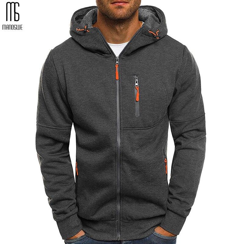 Manoswe Men Sports Casual Hoodies Fall Sweatshirts Hoodies Jacket Fashion Long-sleeved Zipper Hoody Tracksuit Fleece Cardigan