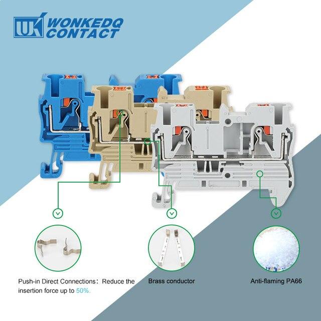 Din Rail borniers PT-2.5 pousser dans le ressort sans vis connecteur de jonction électrique PT2.5 fil conducteur 100 pièces
