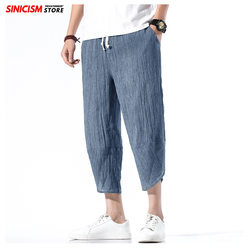 Sinicism Store Men Solid Thin Summer Harem Pants Mens 2020 Loose Calf-Length Trousers Male Wide Leg Chinese Style Vintage Pants