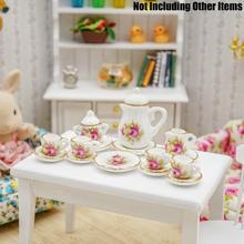 Odoria 1:12, миниатюрный набор чайных чашек, 15 шт., розовая роза, с золотой отделкой, фарфоровая посуда для кукол, кухонные аксессуары