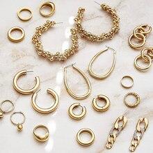 Moda cor de ouro círculo redondo grânulos balançar brincos para mulher grosso pequenos aros ligação ligação corrente brincos jóias femininas