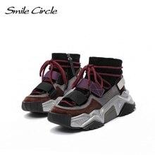 Smile Circle Sneakers flat platform shoes women 2019 winter fashion High top Sneakers women Side zipper Keep warm casual shoes