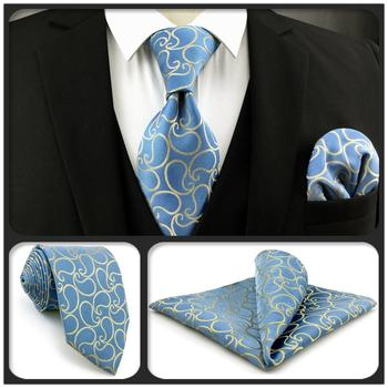 E9 Paisley Azure Yellow Silk Mens Necktie Set Wedding Classic Ties for male Classic Novelty Extra long size Hanky guidecraft classic espresso extra chairs