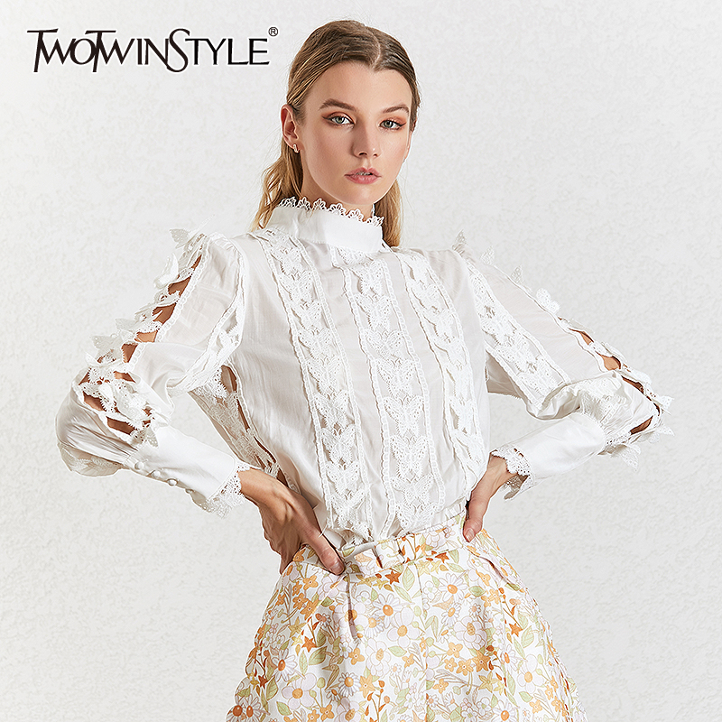 TWOTWINSTYLE Lace Patchwork Women's Shirt Stand Collar Lantern Sleeve Elegant Solid Autumn Blouses Female 2019 Fashion Tide