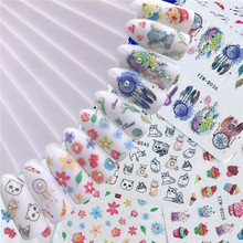 10pcs/lot nail art water decals flower animal ice cream cat printing ultra thin water transfer slider nail wraps FW024