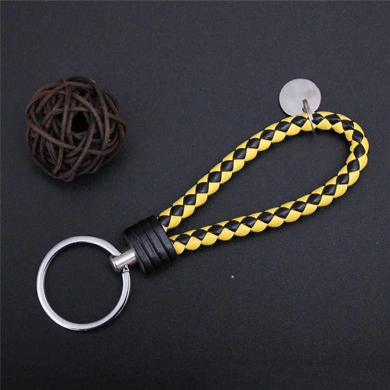 30 ألوان مضفر الجلود المفاتيح اليدوية المنسوجة مفتاح سلسلة DIY بها بنفسك قلادة سيارة حلقة رئيسية سلاسل المفاتيح للرجال النساء المجوهرات هدية صغيرة
