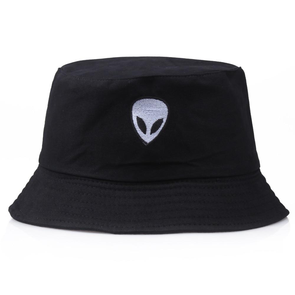 Women's Embroidery Alien Black Cotton Bucket Hat Man Flat Top Twill Cartoon Fish Hats Outdoor Sunscreen Fisherman Hip Hop Caps