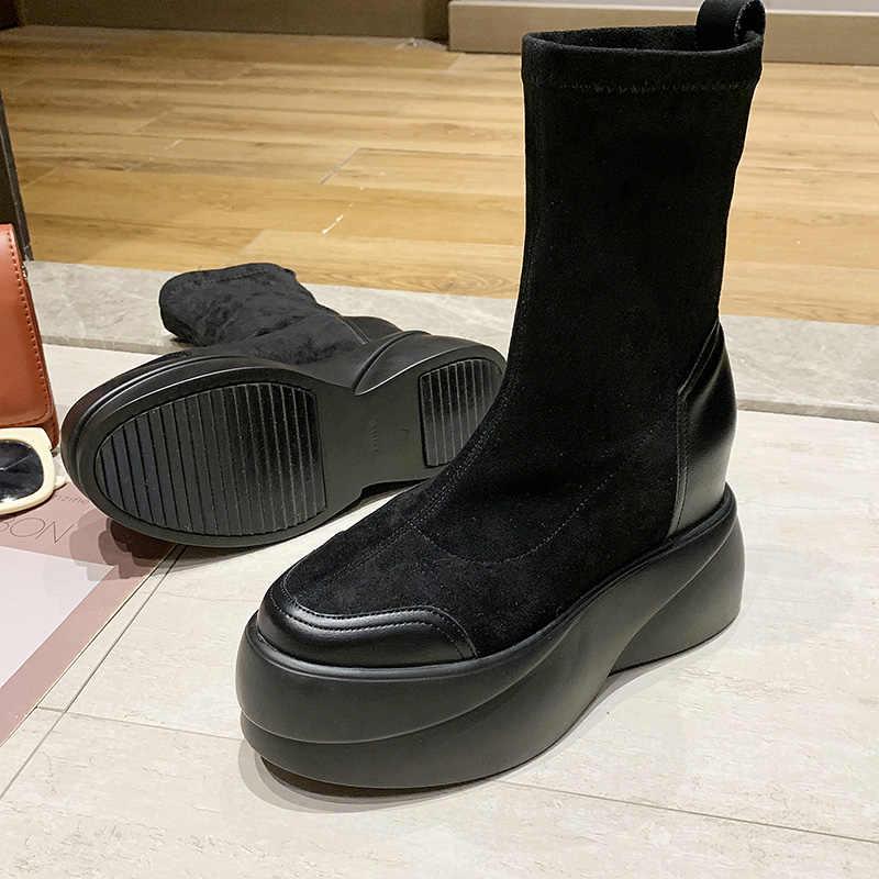 2019 nouveau plat plate-forme bottes femmes chaussures mince sur le genou bottes Sexy femme automne hiver dame cuissardes bottes