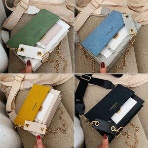 Image 5 - Sac à bandoulière en couleurs contrastées, sac à épaule en daim cuir PU avec chaîne, sac à main et pochette pour femmes