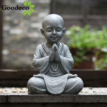 Goodeco Meditating Baby Buddha Statue Garden Outdoor Buda Figurine Decor Zen Monk Sculpture Jardin Lawn Sitting Buddha Ornament