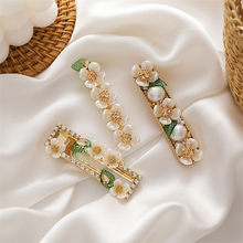 2021 Korean New Trendy Shell Flower Leaves Simulated Pearl Rhinestone Spring Barrettes For Women Fashion Jewelry Hair Clips Pins