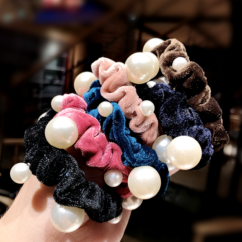 New Women Girls Elegant Pearls Coral Fleece Elastic Hair Bands Ponytail Holder Hair Scrunchie Tie Gum Fashion Hair Accessories