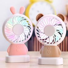 Fan Portable Electric-Fan Outdoor Coloured-Lights Handheld Cartoon Ultrathin