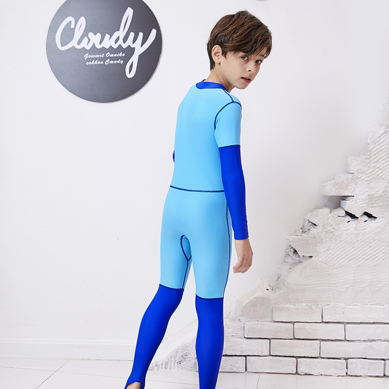 Children One-piece Long-sleeved Swimsuit Sun-resistant Quick-Dry Students Baby Big Boy Diving Suit Set Men And Women Children Je