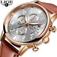 2020 LIGE męskie zegarki Top marka luksusowe wodoodporne 24 godziny data zegar kwarcowy męskie skórzane sportowe Wrist Watch Relogio Masculino