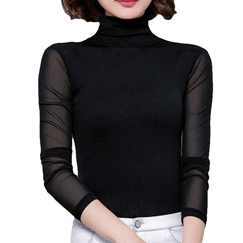 Sexy malha blusa feminina gola alta manga comprida tops elasticidade camisa preta silm blusas mujer de moda 2019 casual camisas apertadas novo