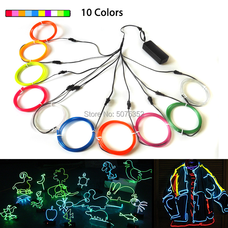 Night Club Party Decor Neon Glow LED Cable Rope Tube 3.2mm Waterproof EL Wire Car Decor Flexible Neon LED Light Shoes Events DIY