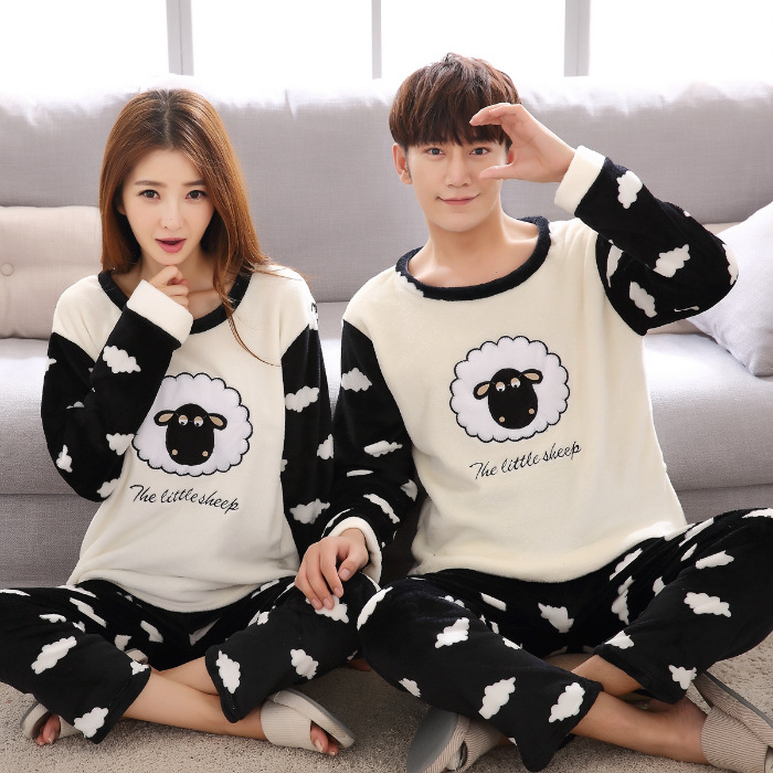 Couple Pyjamas Women Mens Flannel  Fleece Warm Autumn Winter Pijamas Women Sleepwear Pyjama Femme Pajama Set Sexy Nightwear