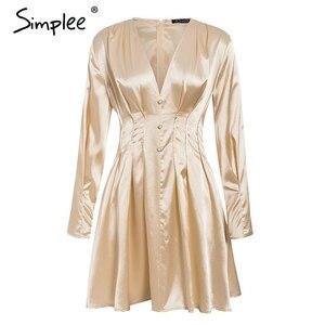 Image 5 - Simplee Sexy v neck satynowa sukienka damska z długim rękawem plisowana jesienno zimowa sukienki damskie mini moda do klubu na imprezę ladies vestidos